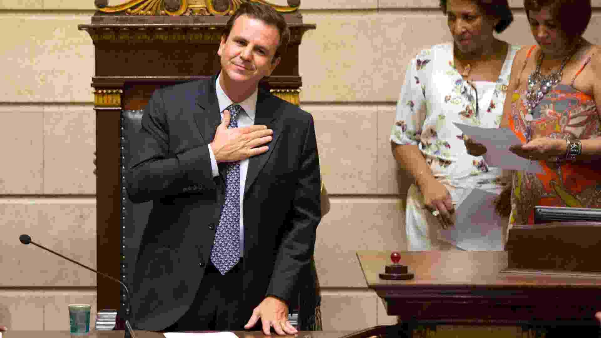 1º.jan.2013 - O prefeito reeleito do Rio de Janeiro, Eduardo Paes (PMDB), toma posse na Câmara Municipal - Fernando Maia/UOL
