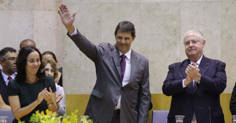 1º.jan.2013 - O prefeito eleito de São Paulo, Fernando Haddad (PT), toma posse na Câmara Municipal