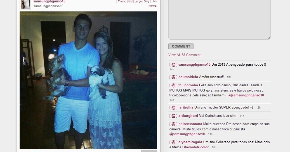 Paulo Henrique Ganso desejou no Instagram um 2013