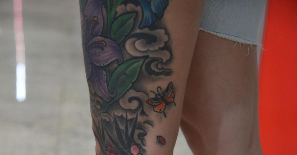 4.jan.2013 - A feira internacional de tatuagem Tattoo Week reúne cerca de mil tatuadores, artistas plásticos e body piercings, entre esta sexta-feira (4) e o domingo (6), no Rio de Janeiro