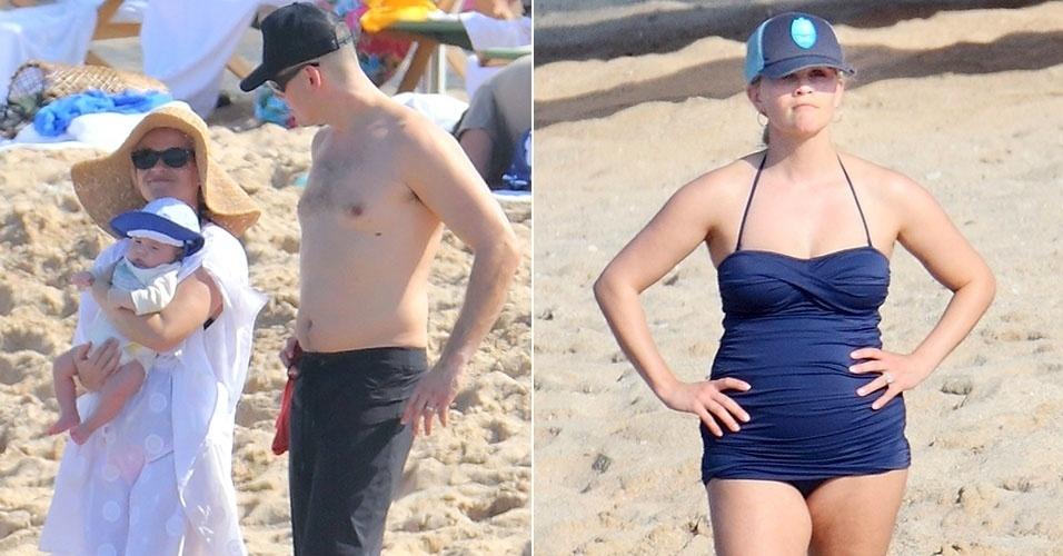 Atriz Reese Witherpoon e o marido Jim Toth curtem férias ao lado filho recém-nascido no Havaí