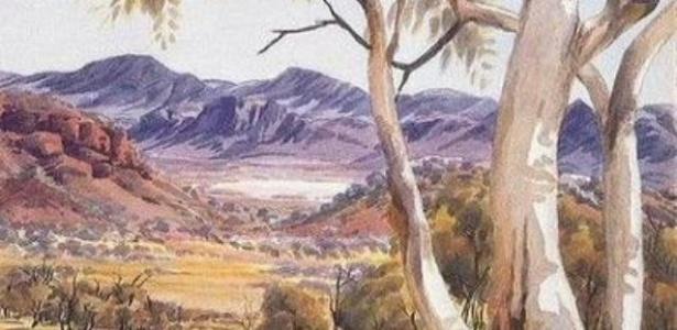 """Tela do artista Albert Namatjira, que retrata as conhecidas árvores """"goma fantasma"""", na Austrália - Reprodução"""