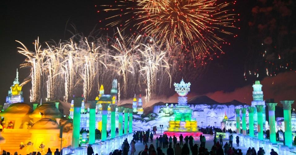 5.jan.2013 - Festival Internacional de Gelo e Neve de Harbin, na China, atrai turistas de todo o mundo