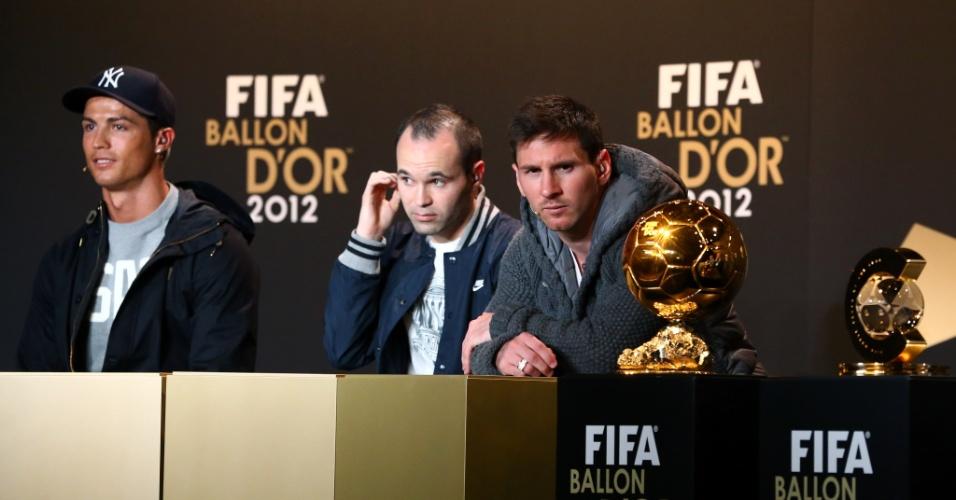 07.01.13 - Cristiano Ronaldo, Iniesta e Messi em entrevista coletiva