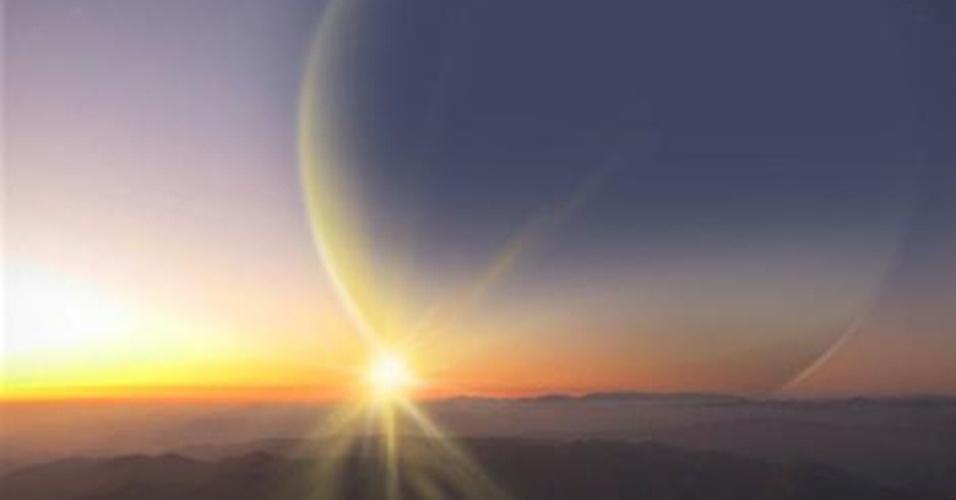 7.jan.2013 - Concepção artística mostra o gigante PH2 b, planeta que tem o tamanho de Júpiter e está orbitando a zona habitável de uma estrela, que foi descoberto com a ajuda de 40 voluntários e astrônomos amadores