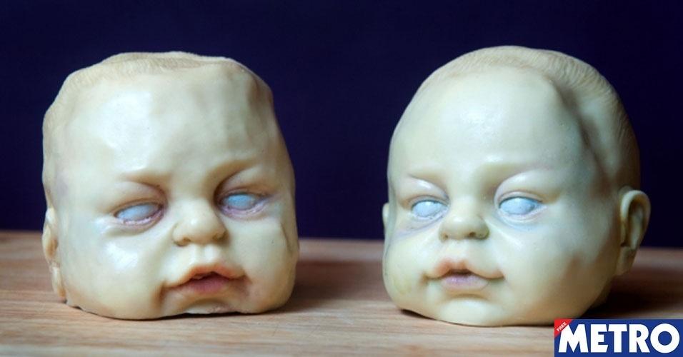 Doceira faz sucesso criando assustadoras cabeças de bebê de chocolate