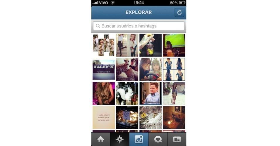 Na opção Explorar (segundo botão da esquerda para a direita), o usuário consegue fazer buscas (por nome de usuário ou hashtag) e visualizar fotos selecionadas pelo próprio Instagram