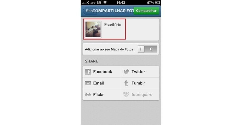 Será necessário criar uma legenda para a foto e escolher em que rede deseja compartilhar, como Twitter e Facebook. Em seguida, clique no botão verde na parte superior direita para publicar sua foto (no Instagram e também em outras redes, caso você tenha escolhido)