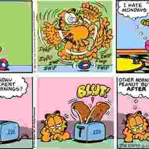 """Cientistas da Universidade Stony Brook, em Nova York, nos Estados Unidos, derrubaram o mito do """"mau-humor de segunda-feira"""", que é tema frequentes nas tiras do gato Garfield. Uma enquete com 340 mil pessoas revelou que o humor do público é tão ruim na segunda-feira quanto em qualquer outro dia da semana - com exceção da sexta-feira, que traz """"um sentimento especial"""" por anteceder ao período de descanso do fim de semana - Divulgação"""