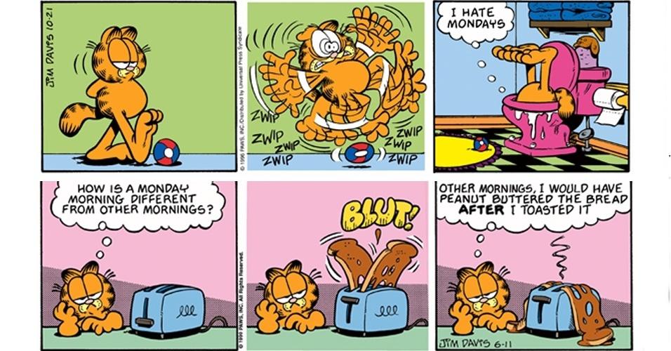 """Cientistas da Universidade Stony Brook, em Nova York, nos Estados Unidos, derrubaram o mito do """"mau-humor de segunda-feira"""", que é tema frequentes nas tiras do gato Garfield. Uma enquete com 340 mil pessoas revelou que o humor do público é tão ruim na segunda-feira quanto em qualquer outro dia da semana - com exceção da sexta-feira, que traz """"um sentimento especial"""" por anteceder ao período de descanso do fim de semana"""