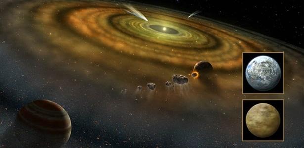 O primeiro cometa fora do Sistema Solar foi achado pelos astronômos em 1987 em torno da estrela Beta Pictoris (ilustração) - Divulgação