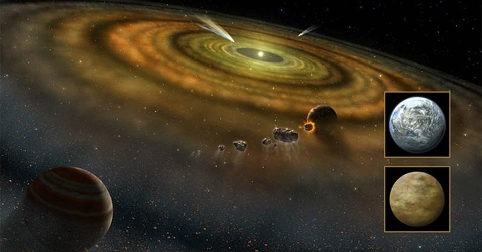 9.jan.2013 - O primeiro exocometa (fora do Sistema Solar) foi encontrado pelos astronômos em 1987 em torno da estrela Beta Pictoris. O astrônomo Barry Welsh anunciou, durante a reunião semestral da Sociedade Astronômica Americana, ter encontrado um novo grupo de cometas que orbitam estrelas distantes, triplicando o número de objetos conhecidos