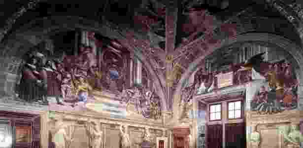 A Sala de Heliodoro, onde ficam os afrescos de Rafael restaurados pelo Vaticano - Reprodução/Vatican.va