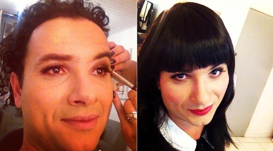 10.jan.2012 - O humorista Marco Luque divulgou uma imagem onde aparece vestindo uma peruca e maquiado. No Twitter, Marco disse que a transformação é para a personagem chamada Mary Help