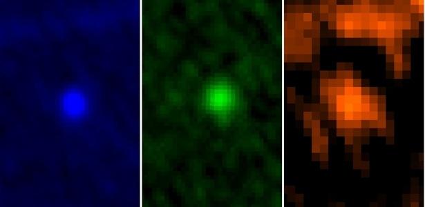 10.jan.2013 - O observatório Herschel, da Agência Espacial Europeia (ESA, na sigla em inglês), captou o asteroide Apophis durante a aproximação com a Terra entre os dias 5 e 6 de janeiro - as imagens coloridas distinguem os registros feitos em três comprimentos de ondas. Os astrônomos estão acompanhando a sua trajetória, pois há um pequeno risco de o Apophis colidir com a Terra em 2036 - ESA/Herschel/PACS/MACH-11/MPE/B.Altieri and C. Kiss