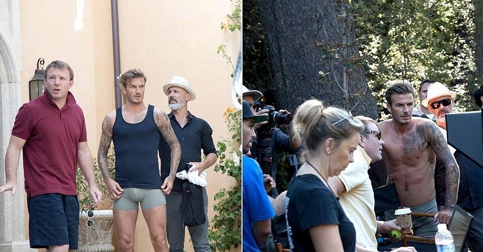 Jan.2013 - Dirigido pelo cineasta Guy Ritchie (de camiseta vermelha), jogador David Beckham grava um comercial para a sua nova coleção de cuecas em parceria com a grife sueca H&M