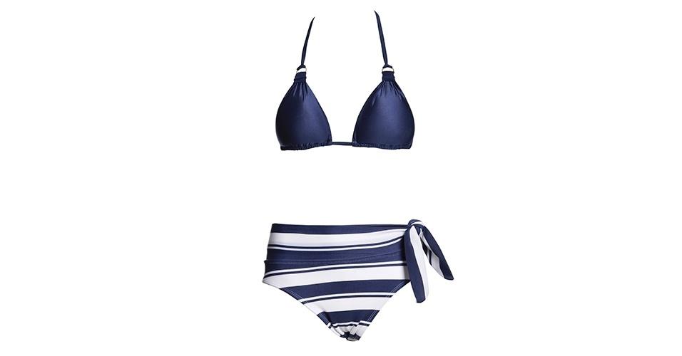 MAGRINHAS: As listras horizontais podem criar uma ilusão de alguns centímetros a mais na silhueta; top e calcinha, R$ 69 e R$ 62, respectivamente, na Blue Beach