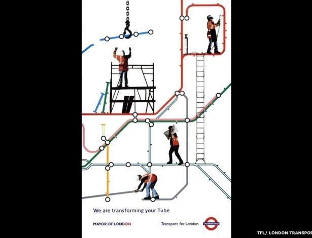 """""""Mantém Londres Andando"""" tem cartazes que mostram como o Metrô manteve Londres em movimento, mostrando também a evolução da tecnologia. Acima, um cartaz de 2007 - © TfL, coleção do Museu de Transportes de Londres"""