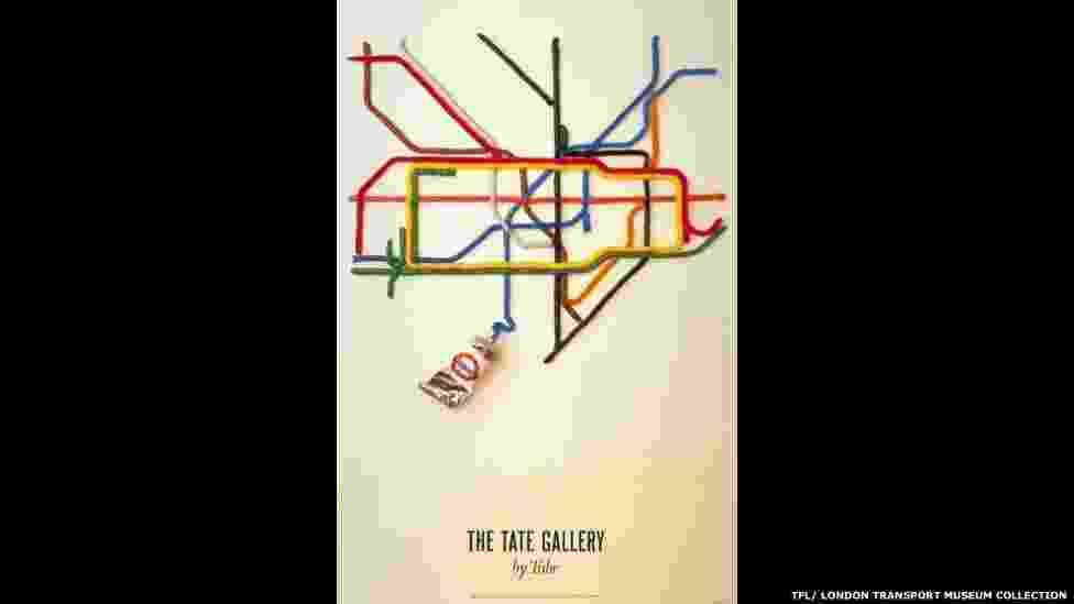 O tema 'Encontrando seu Caminho' conta com mapas do Metrô e cartazes com dicas de etiqueta dentro dos trens. Acima, o cartaz de 1987 da campanha 'The Tate Gallery by tube', de David Booth - © TfL, coleção do Museu de Transportes de Londres
