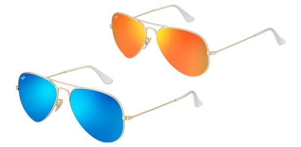 """As lentes espelhadas em cores chamativas ganharam o nome de """"flash"""". Na foto, modelos da Ray-Ban no estilo Aviador - Divulgação"""