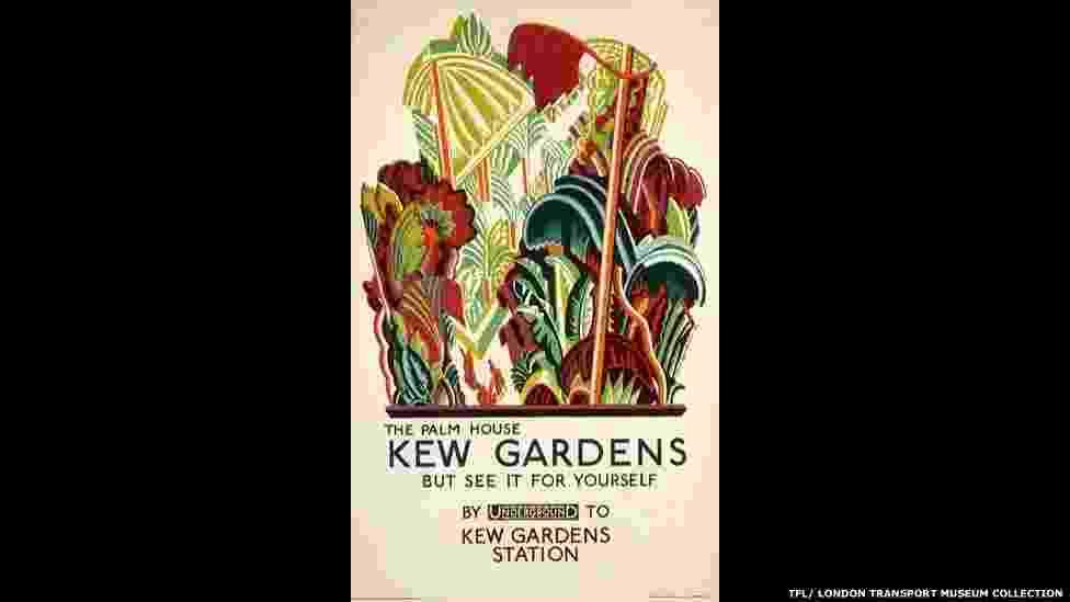 Para a parte 'Capital da Cultura', os cartazes mostram passeios como galerias, museus e até o zoológico. Acima, trabalho de Clive Gardiner, de 1926 - © TfL, coleção do Museu de Transportes de Londres