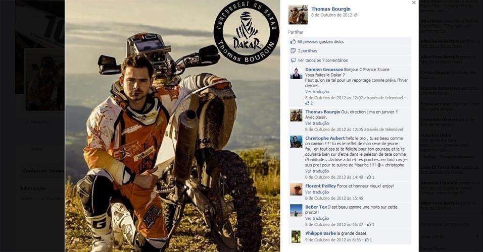 Piloto francês Thomas Bourgin, de 25 anos, morreu ao bater sua moto contra uma viatura policial durante a sétima etapa do Rali Dakar 2013