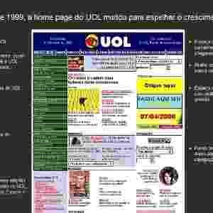 Print da home antiga do UOL - álbum história das home pages - Arte UOL