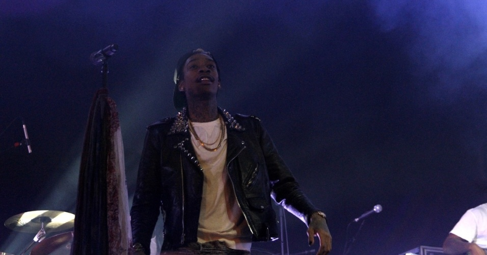 11.jan.2013 - O rapper americano Wiz Khalifa se apresenta pela primeira vez no Brasil. O americano faz show no Memorial da América Latina, em São Paulo, depois de passar por Florianópolis e antes de desembarcar no Rio de Janeiro