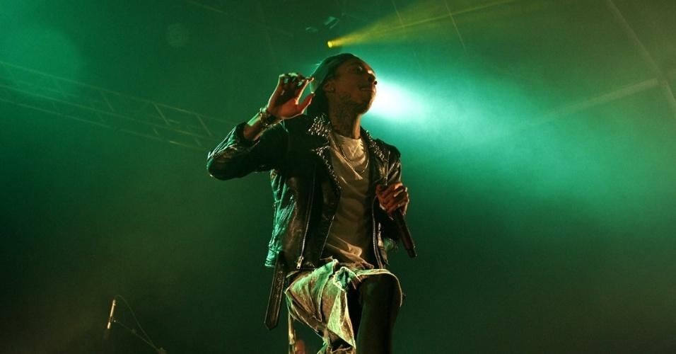 """11.jan.2013 - O rapper traz ao Brasil o show que promove o disco """"O.N.I.F.C."""" (Only Niggas in First Class), que foi lançado no início de dezembro de 2012, com os singles """"Work Hard, Play Hard"""" e """"Remember You"""", essa última com participação do cantor de R&B The Weeknd"""