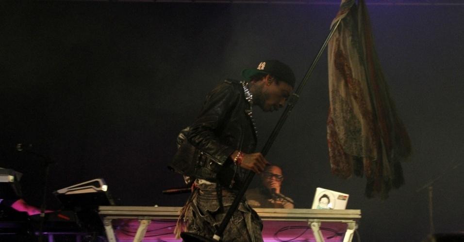 """11.jan.2013 - Wiz Khalifa lançou em 2011 o seu primeiro álbum de estúdio, """"Rolling Papers"""". Em 2012 foi indicado ao Grammy Awards nas categorias Melhor Canção de Rap e Melhor Performance de Rap por """"Black and Yellow"""""""