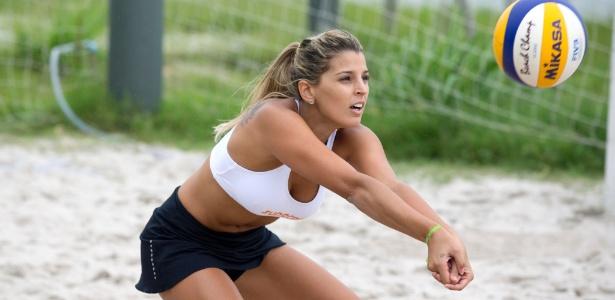 Mari Paraíba durante treinamento de vôlei de praia no Rio de Janeiro na última sexta