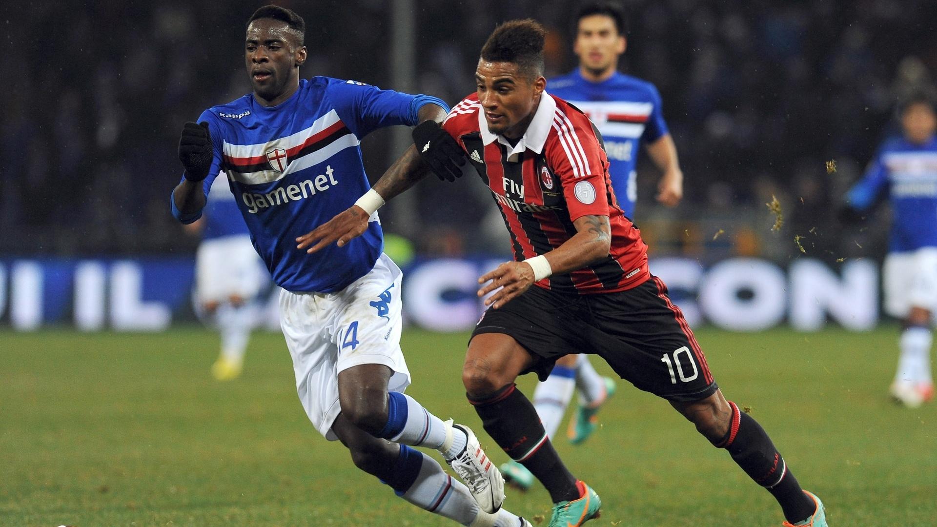 13.jan.2013 - Kevin Prince-Boateng, do Milan, tenta jogada enquanto é marcado por Pedro Obiang, da Sampdoria, durante jogo do Campeonato Italiano