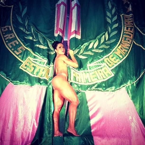 13.jan.2013 - Rainha da Mangueira, Gracyanne divulga foto seminua, envolta pela bandeira da escola
