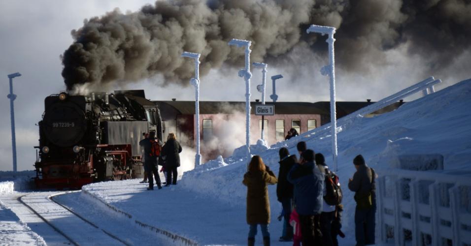 13.jan.2013 - Trem passa por paisagem coberta de neve nas montanhas do Harz, em Braunlage, região central da Alemanha