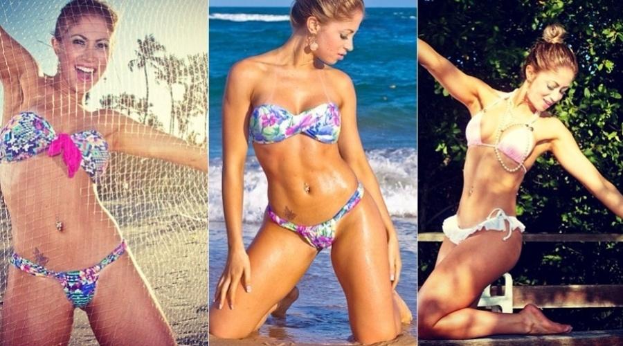 14.jan.2013 - A panicat Carol Narizinho fez ensaio de biquíni em uma praia da Bahia. As imagens foram divulgada pela modelo por meio de sua página do Twitter