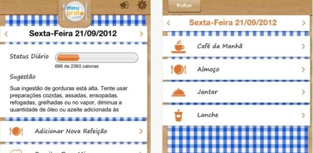 Com o aplicativo é possível acompanhar os valores nutricionais atingidos em cada refeição e comparar com os valores nutricionais ideais  - App Store