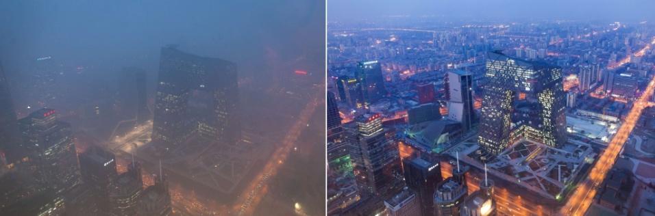 14.jan.2013 - Poluição de Pequim, na China, chega ao nível de 300 microgramas de partículas menores de 2,5 micras por metro cúbico nesta segunda-feira (14), muito acima dos 25 microgramas por metro cúbico recomendados pela OMS (Organização Mundial da Saúde). Acima, montagem compara os efeitos da má qualidade do ar na capital chinesa (à esquerda) com um dia limpo de fevereiro do ano passado (à direita)