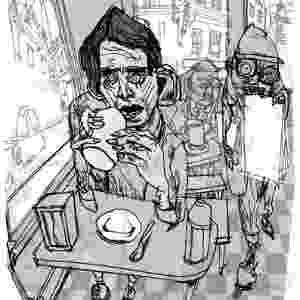 """Ilustração de Oscar Grillo para edição comemorativa de """"Laranja Mecânica"""", o livro ainda tem desenhos de Angeli e Dave McKean - Divulgação"""