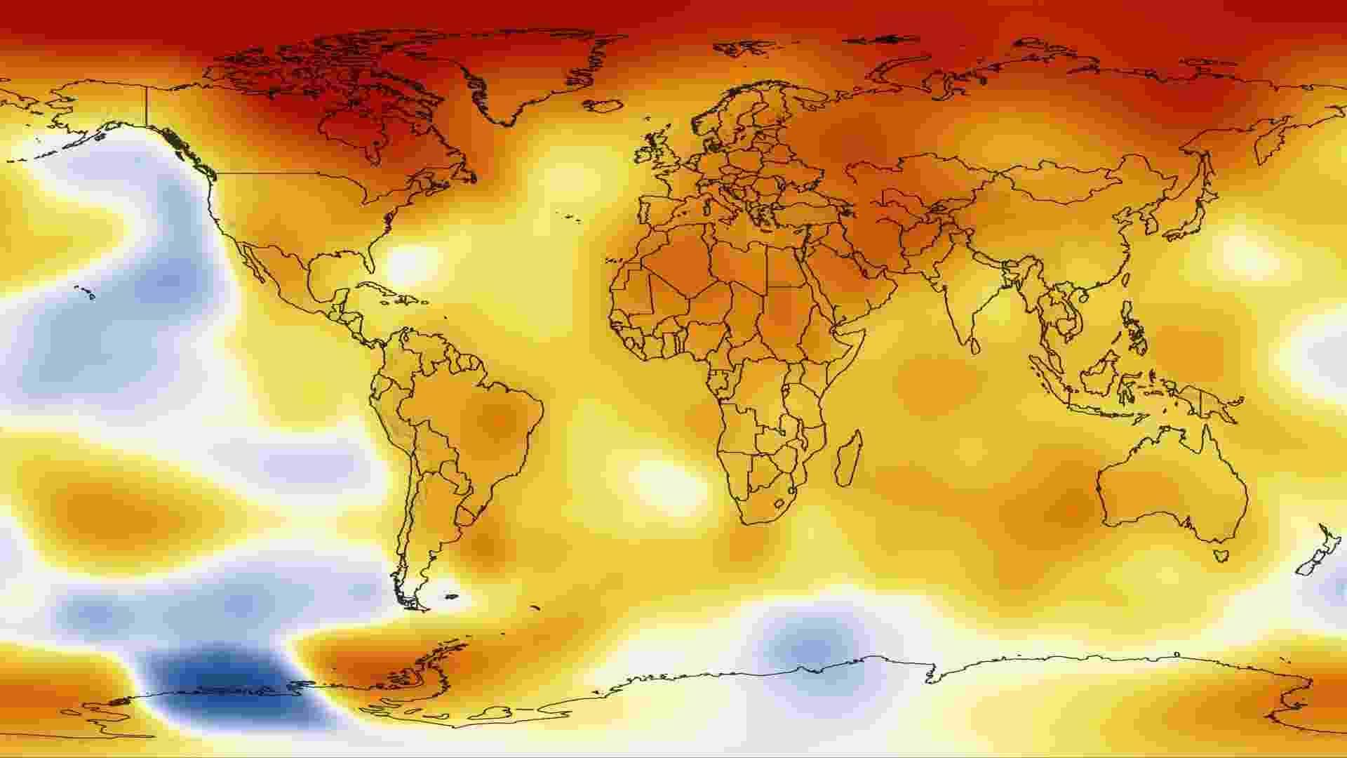 16.jan.2013 - A Nasa (Agência Espacial Norte-Americana) classificou o ano de 2012 como um dos mais quentes desde o início dos registros, em 1880. A temperatura da superfície global no ano passado, incluindo terra e água, foi 0,56 graus Celsius superior à média registrada entre 1951 e 1980, o suficiente para causar um aumento nas máximas extremas da temperatura do planeta - NASA Goddard's Scientific Visualization Studio