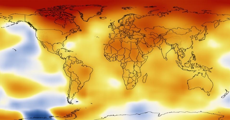 16.jan.2013 - A Nasa (Agência Espacial Norte-Americana) classificou o ano de 2012 como um dos mais quentes desde o início dos registros, em 1880. A temperatura da superfície global no ano passado, incluindo terra e água, foi 0,56 graus Celsius superior à média registrada entre 1951 e 1980, o suficiente para causar um aumento nas máximas extremas da temperatura do planeta