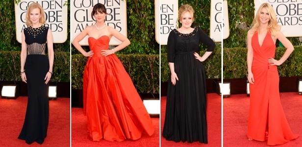 """O preto e o vermelho foram as cores mais usadas no """"red carpet"""" do Globo de Ouro 2013 - Getty Images"""