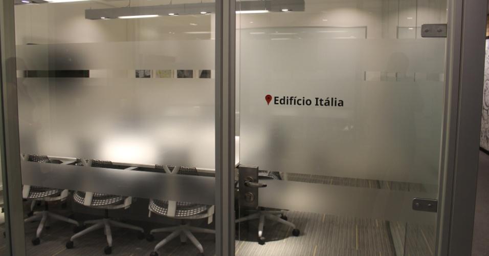 Sala de reunião do Google leva nome do Edifício Itália, prédio localizado na região central da cidade de São Paulo