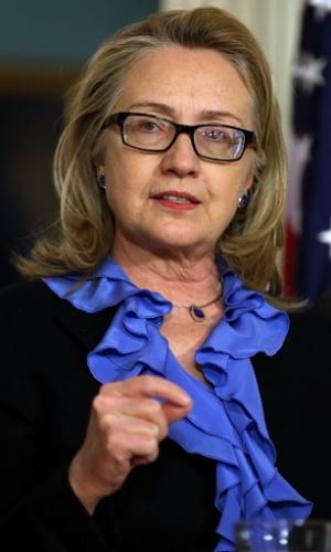 17.jan.2013 - A secratária de Estado Americana, Hillary Clinton, participa de coletiva com a imprensa, em Washington (EUA), durante a visita do presidente da Somália, Hassan Sheikh Mohamud
