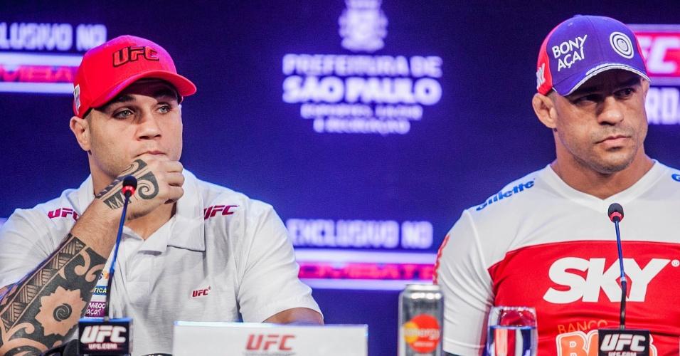 17.jan.2013 - Sarafian e Belfort lado a lado na entrevista coletiva do UFC SP