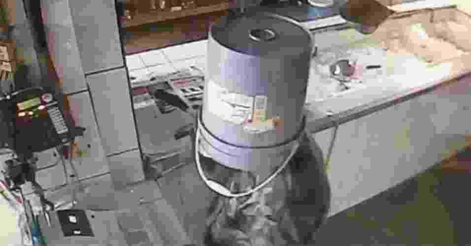 Ladrão esquece máscara e usa balde para esconder rosto durante assalto - Reprodução de vídeo