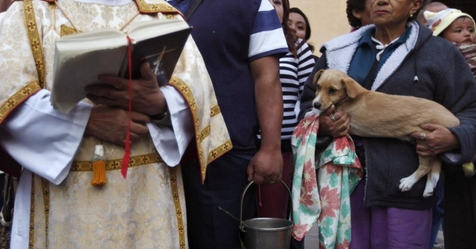 18.jan.2013 - Dona de cão espera vez para que seu bicho de estimação seja abençoado por um padre em igreja de Xochimilco, nos arredores da Cidade do México. Pessoas levam seus animais para as igrejas no dia de Santo Antônio, o protetor dos bichos