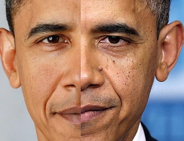 """18.jan.2013 - Imagem publicada no  """"Mail Online"""" traz a transformação física do presidente dos Estados Unidos, Barack Obama, ao longo dos quatro anos de mandato.  À esquerda, verifica-se Obama em 2009 e à direita, tem-se a imagem do presidente norte-americano duas semanas atrás"""