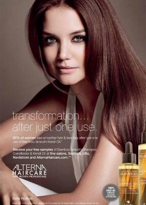 Katie Holmes é novo rosto da marca Alterna, de cuidados naturais para os cabelos - Divulgação