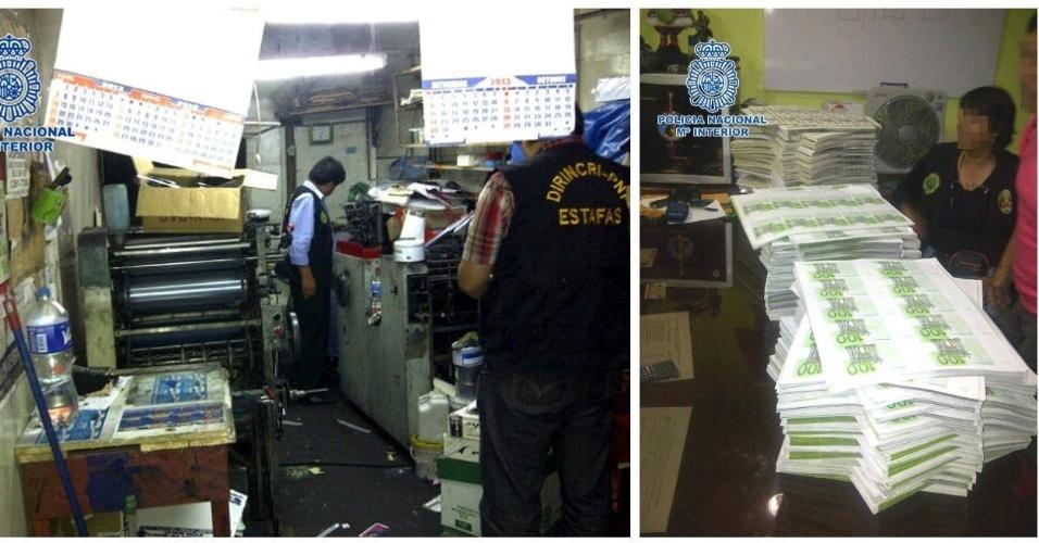 Imagens divulgadas pela polícia nacional espanhola, que participou de uma operação em Lima, no Peru, mostram fábrica clandestina que se dedicava à impressão de notas falsas de Euro