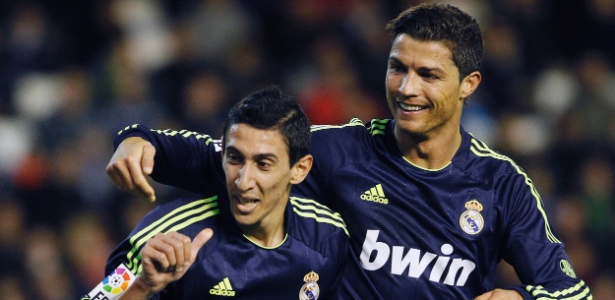 Di Maria e Cristiano Ronaldo celebram a goleada sobre o Valencia
